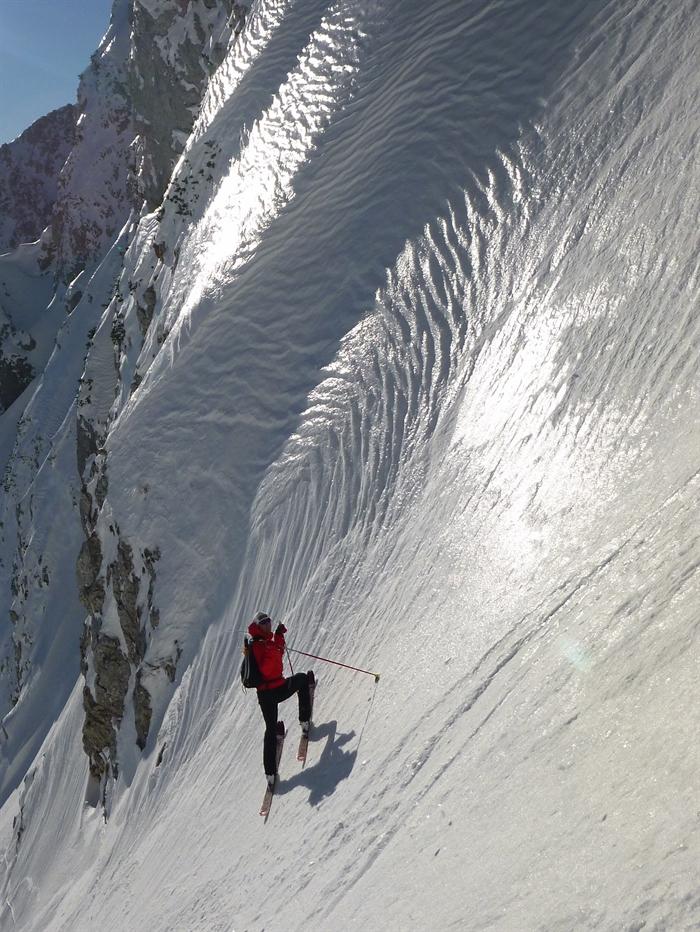 Steilabfahrt am Schneeberg